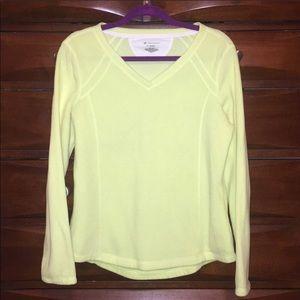 TEK GEAR Bright yellow fleece V-neck pullover